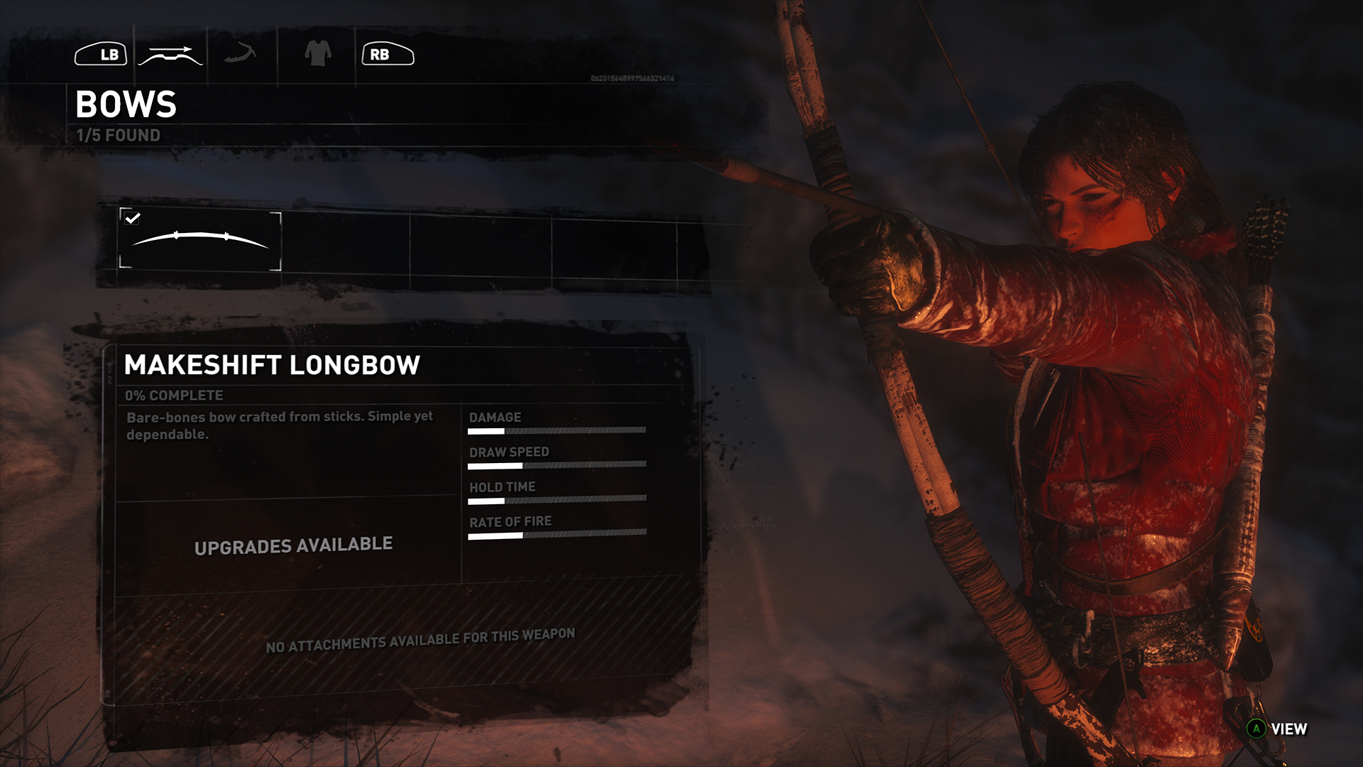 Rise of the Tomb Raider submenu
